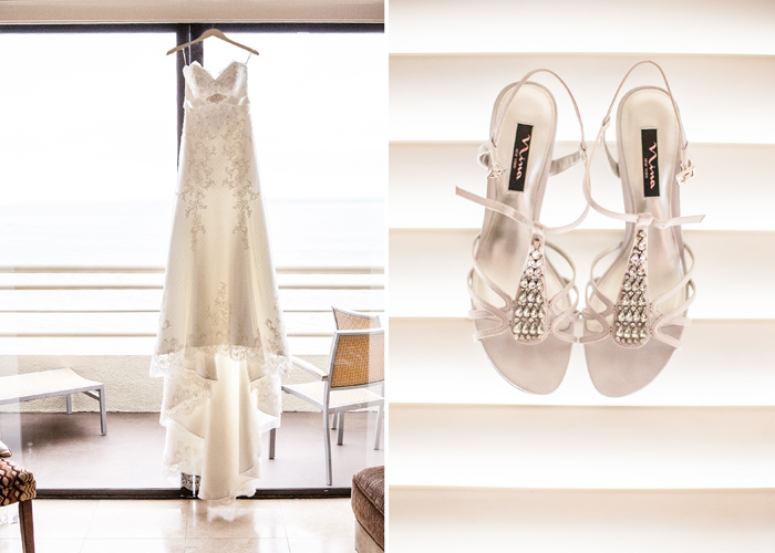 Wedding gown and shoes.