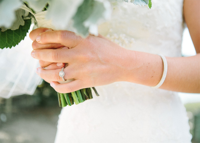 Brides hands and wedding ring.