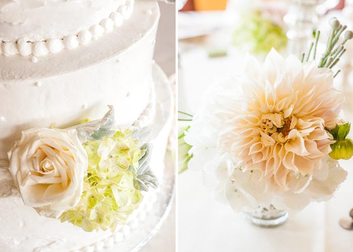 Wedding cake and daffodils.