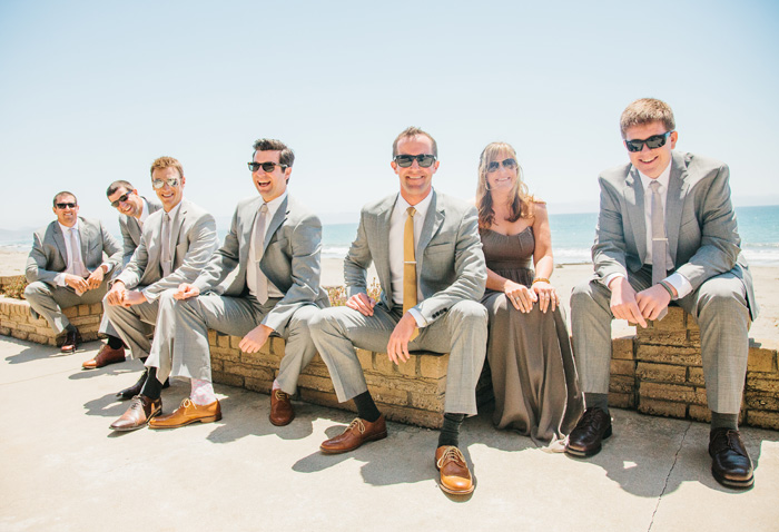 Groom and groomsmen at Cayucos beach