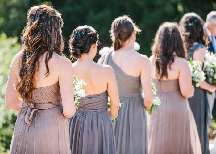 Bridesmaids gowns from behind