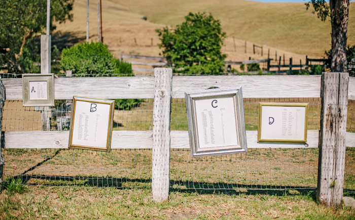 Seating signs at rustic ranch wedding