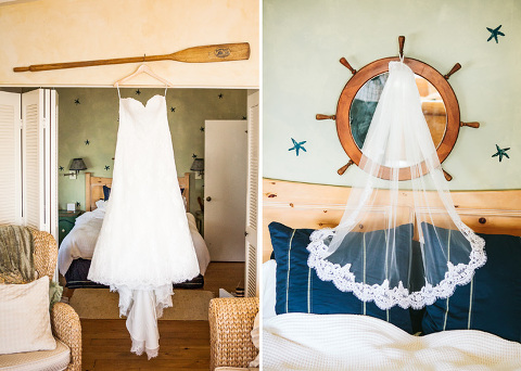 Brides gown and veil