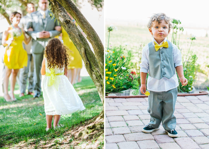 Ring bearer and flower girl at vineyard wedding