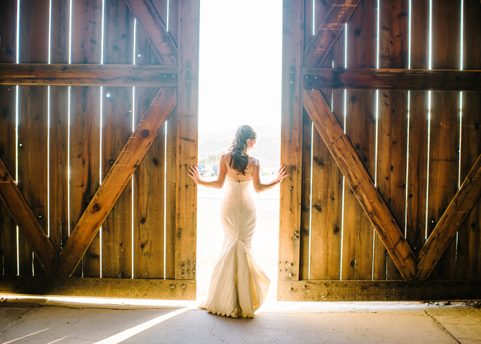 Portrait of bride in front of barn doors
