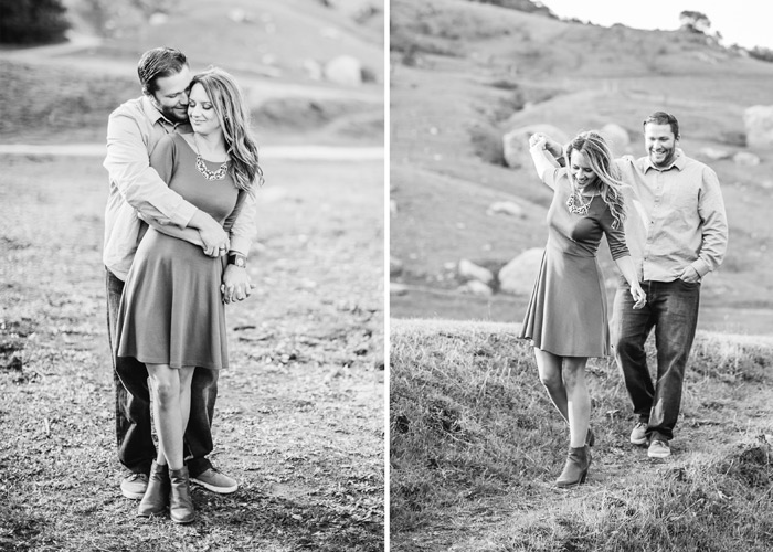 Central coast engagement photo. Black and white. Bishop peak.