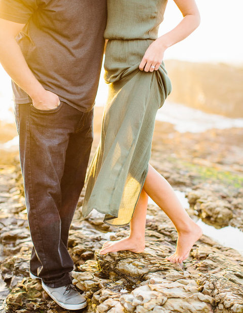 Sunset beach engagement photo