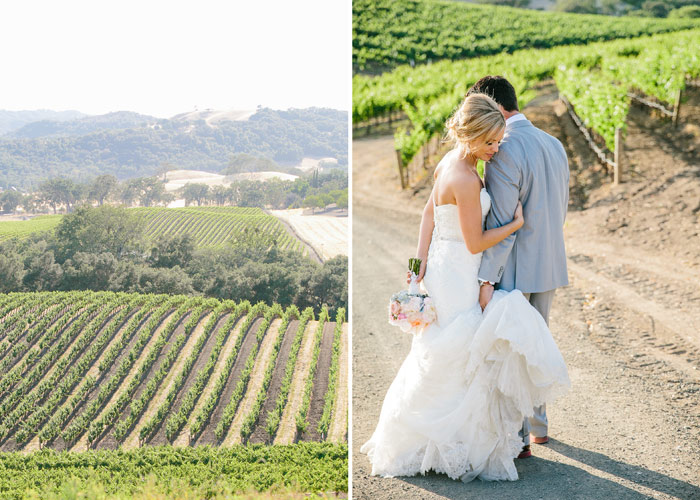 Bride and groom in Vineyard - Paso Robles