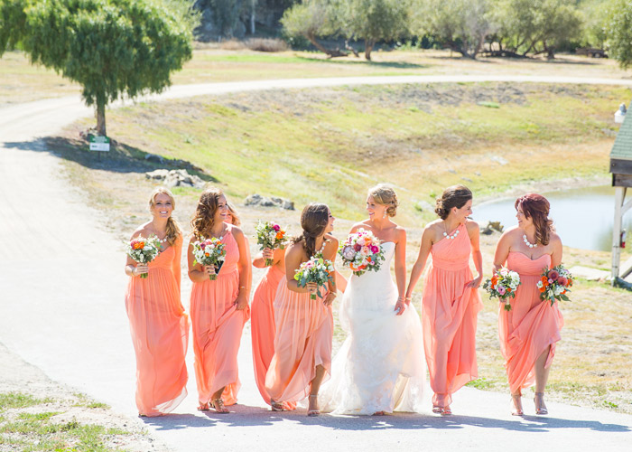Coral colors and bridesmaids.